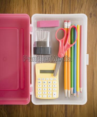 school supplies in box