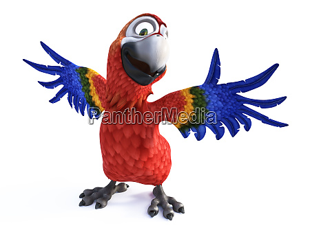 3d rendering of cartoon parrot smiling