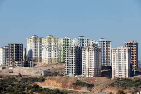 panoramic view to modern buildings under