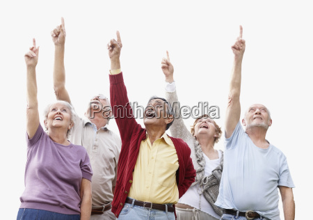 group of seniors pointing up