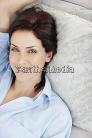 brunette woman resting
