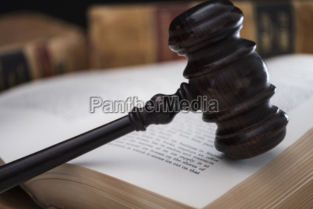 gavel on open law book