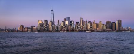 urban skyline at dusk