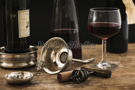 still life with red wine glass