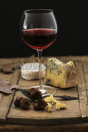 still life with cheese and red