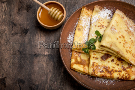 fresh pancakes with fragrant maple syrup