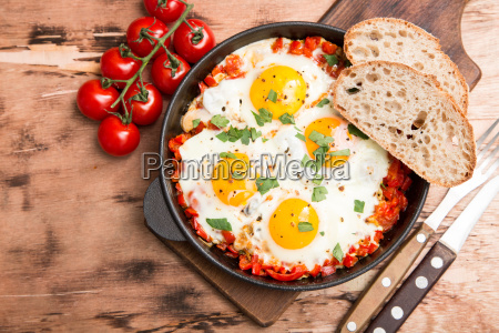tasty and healthy shakshuka in a