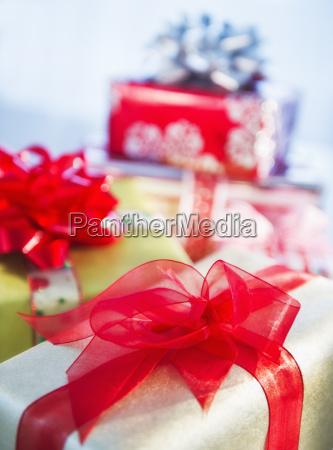 studio shot christmas gifts