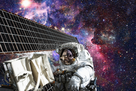astronaut in outer space spacewalk elements