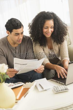 couple doing home finances
