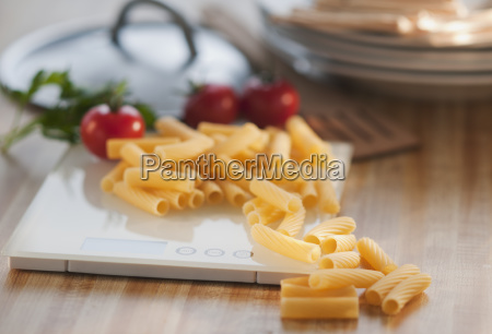 raw pasta on weight scale