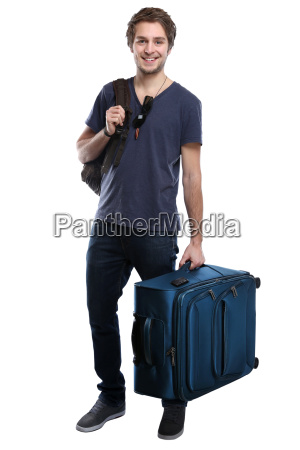 young man with suitcase travel travel