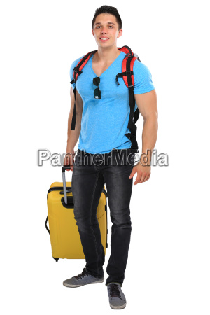 vacation young man with suitcases travel