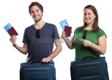 young people with ticket air ticket