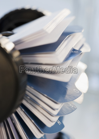 close up of rotary card file