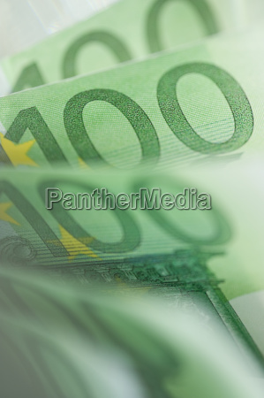 close up of 100 euro notes