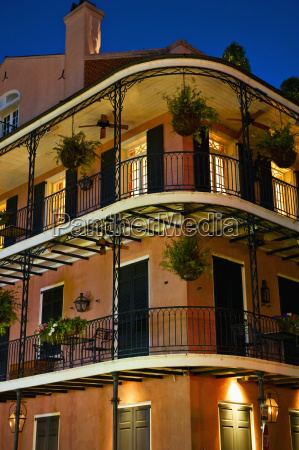 balconies at night in french quarter