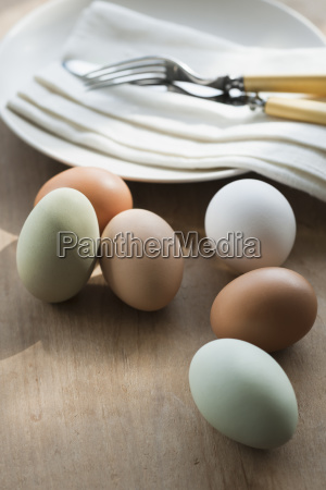 close up of eggs and plate