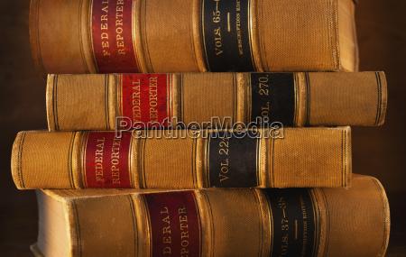 studio shot of law books