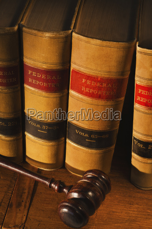 studio shot of law books and