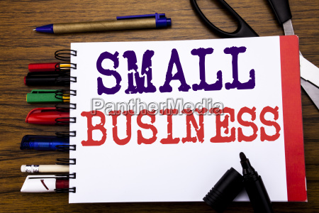 handwriting announcement text showing small business