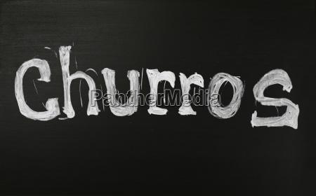 white chalk churros word over black