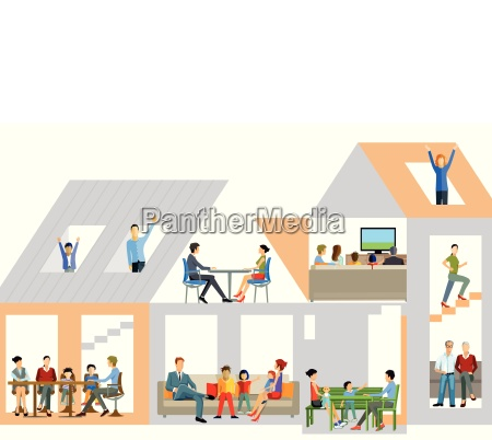 family life in the houseillustration
