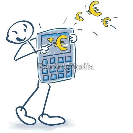 stick figures with calculator and euros