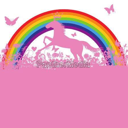 horse in front of a rainbow