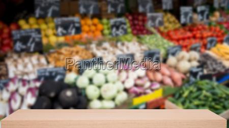 vegetable market defocus background with wooden
