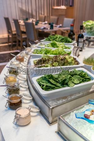 salad bar station in buffet line