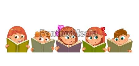 happy children read books