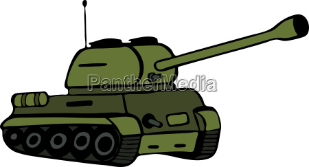 hand drawn green tank isolated