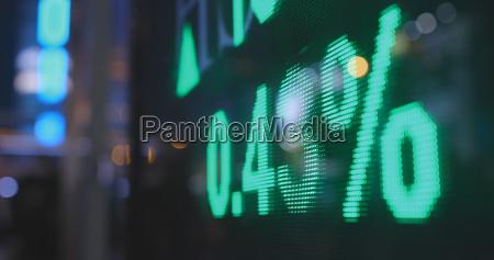 stock market data at night