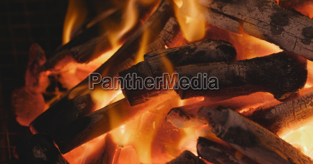 charcoal on fire for barbecue