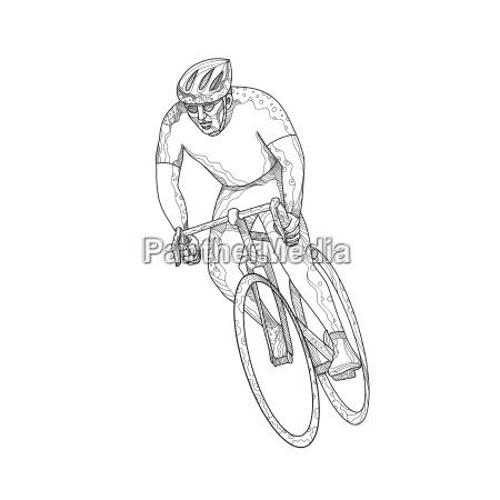 road bicycle racing doodle