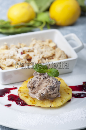 chocolate ice cream on grilled pineapple