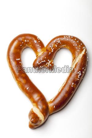 heart shaped pretzel on white