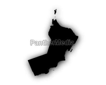 map of oman with shadow