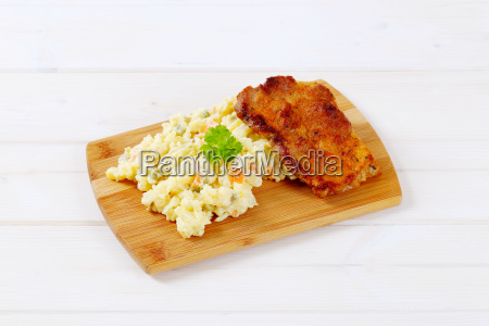 roasted chicken with potato salad