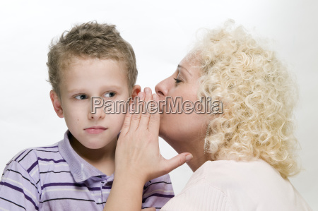 mother whisper to the son