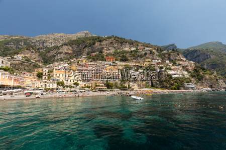 positano seen from the sea on