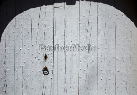 old wooden blue door in