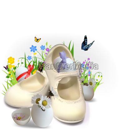 easter greeting card with children booties