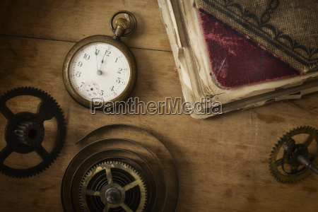 still life with pocket watch and