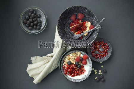 muesli with pomegranate seeds and different