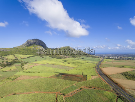 mauritius highlands sugarcane fields and terre