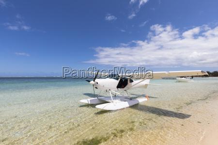 mauritius southwest coast seaplane at beach