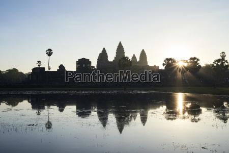 cambodia siem riep silhouette of angkor