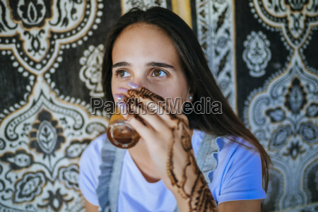 morocco portrait of woman with henna